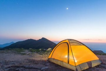 Camping tent on a mountain top