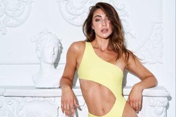 Model wearing Nyud Swimwear