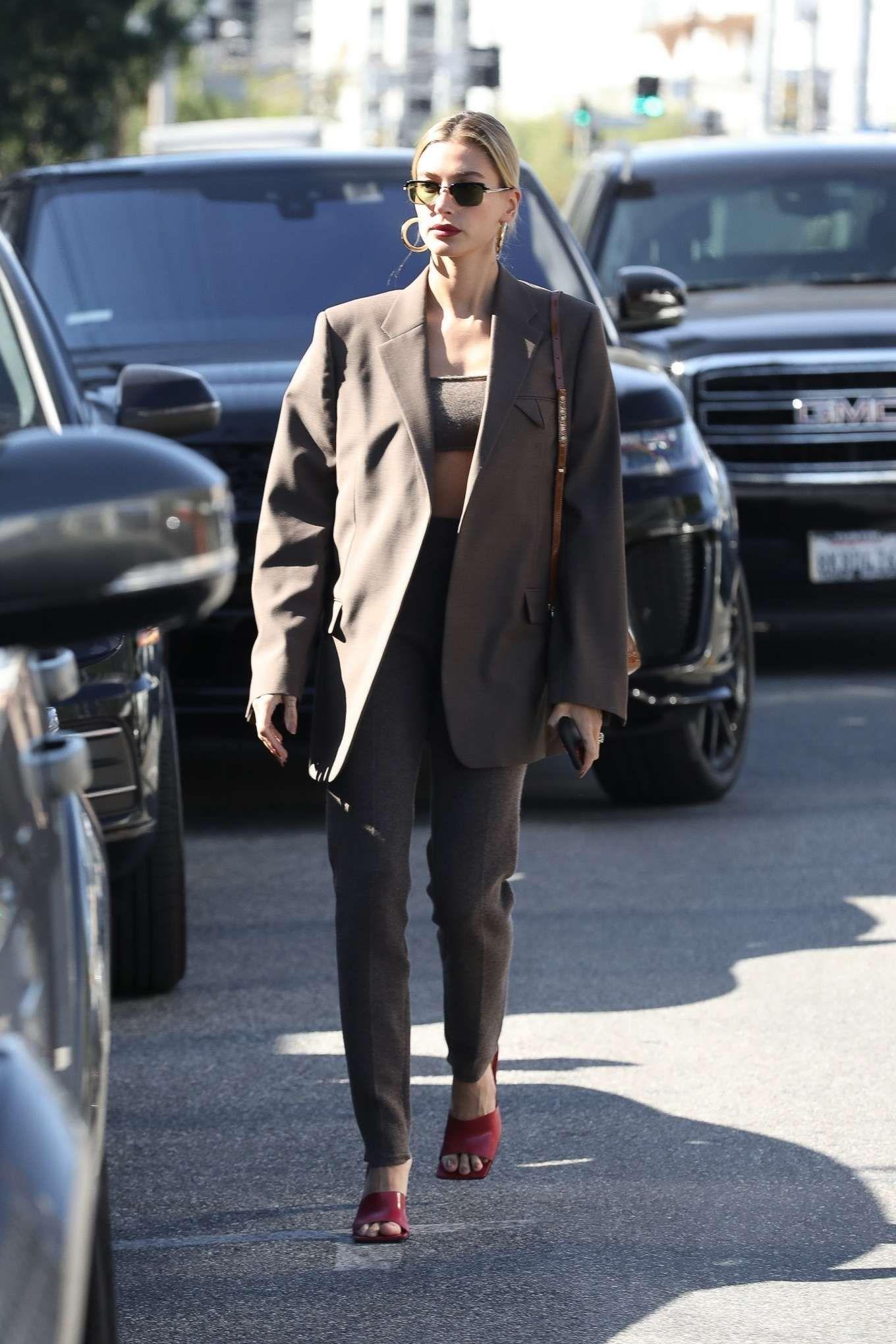 Hailey Bieber in Neutral Suit