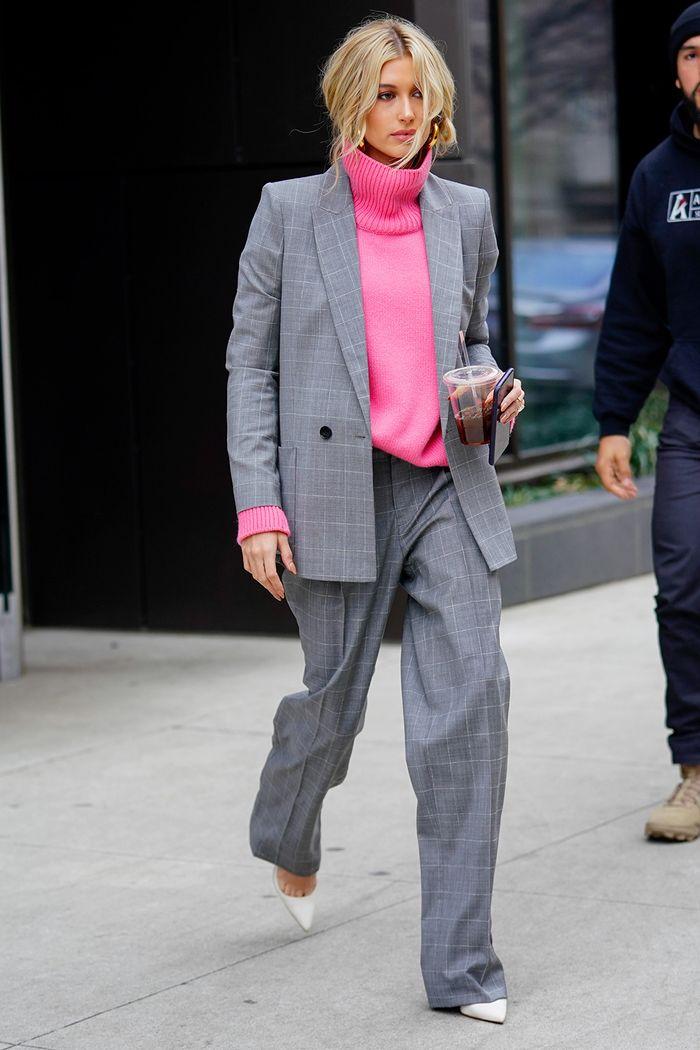 Hailey Baldwin Wearing a Suit