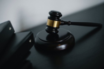 a black gavel for legal matters in court