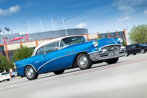 blue small classic vintage caddilac car
