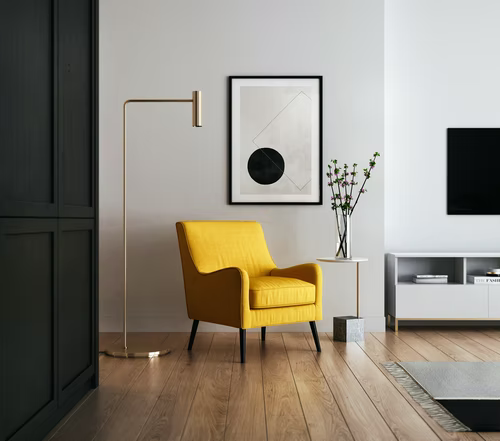 yellow chair in a modern interior design aesthetic